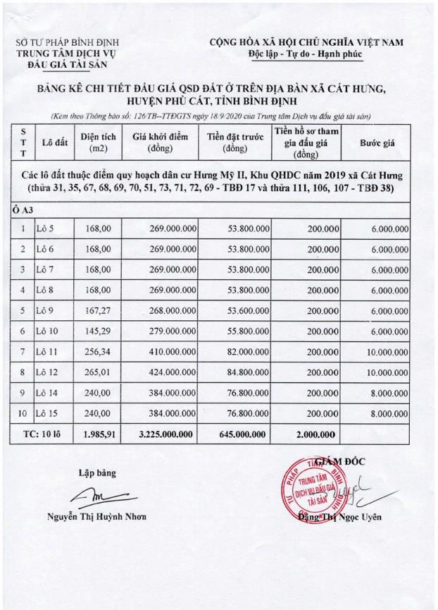 Ngày 16/10/2020, đấu giá quyền sử dụng đất tại huyện Phù Cát, tỉnh Bình Định ảnh 1