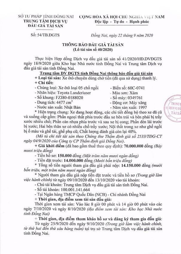 Ngày 14/10/2020, đấu giá xe ô tô Toyota tại tỉnh Đồng Nai ảnh 1