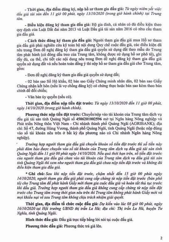 Ngày 16/10/2020, đấu giá quyền sử dụng đất tại huyện Tư Nghĩa, tỉnh Quảng Ngãi ảnh 2