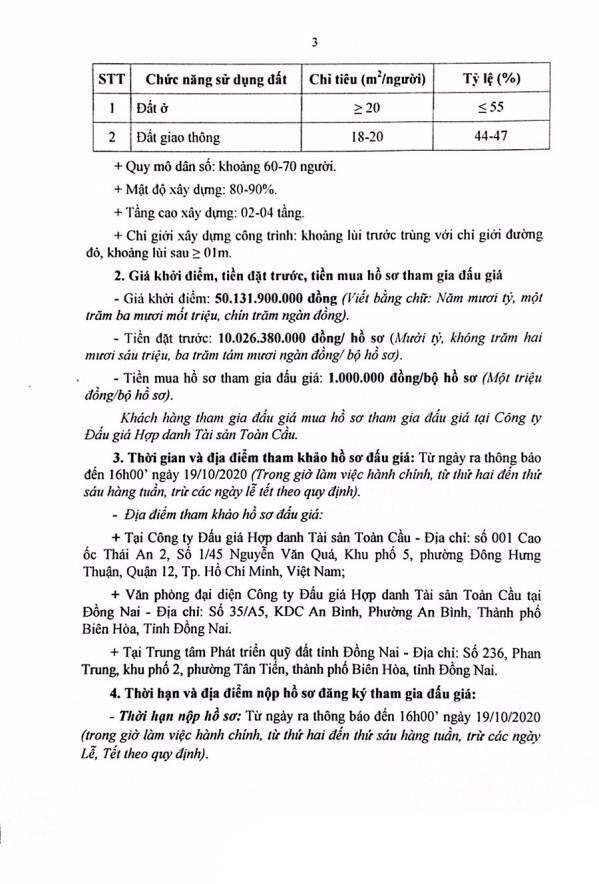 Ngày 22/10/2020, đấu giá quyền sử dụng đất tại thành phố Biên Hòa, tỉnh Đồng Nai ảnh 3