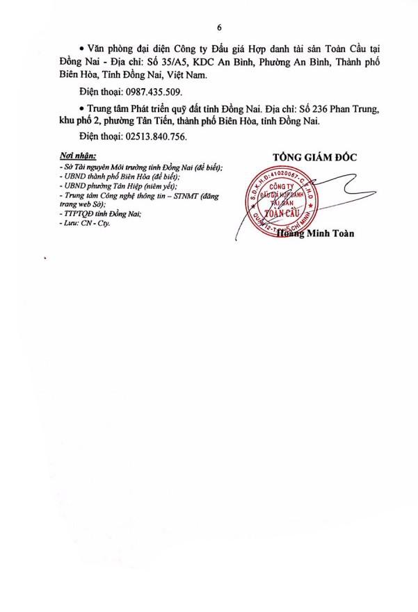 Ngày 22/10/2020, đấu giá quyền sử dụng đất tại thành phố Biên Hòa, tỉnh Đồng Nai ảnh 6