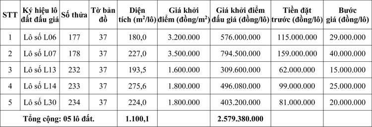 Ngày 30/10/2020, đấu giá quyền sử dụng đất tại huyện Phú Lộc, tỉnh Thừa Thiên Huế ảnh 1