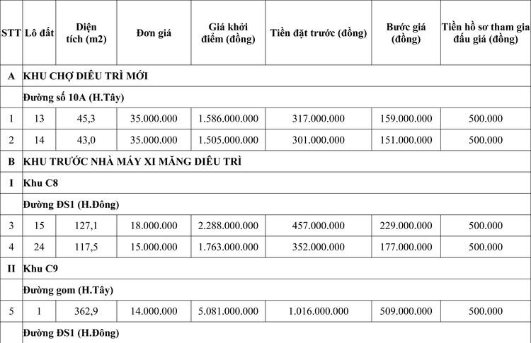 Ngày 24/10/2020, đấu giá quyền sử dụng đất tại huyện Tuy Phước, tỉnh Bình Định ảnh 1
