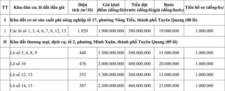 Ngày 24/10/2020, đấu giá quyền sử dụng đất tại thành phố Tuyên Quang, tỉnh Tuyên Quang ảnh 2