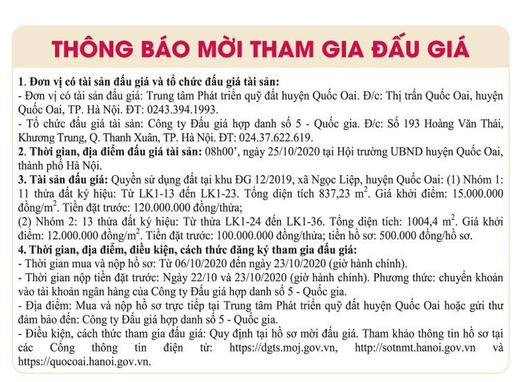 Ngày 25/10/2020, đấu giá quyền sử dụng đất tại huyện Quốc Oai, Hà Nội ảnh 1