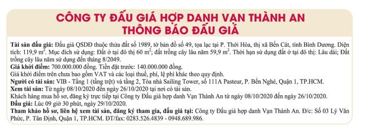 Ngày 29/10/2020, đấu giá quyền sử dụng đất tại thị xã Bến Cát, tỉnh Bình Dương ảnh 1