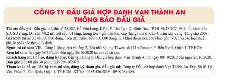Ngày 29/10/2020, đấu giá quyền sử dụng đất tại quận Bình Tân, TPHCM ảnh 1