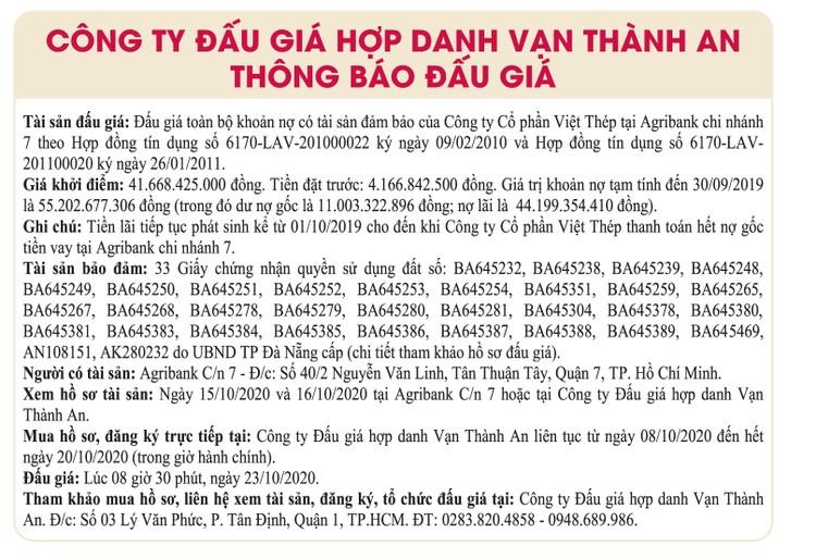 Ngày 23/10/2020, đấu giá khoản nợ của Công ty CP Việt Thép tại Agribank Chi nhánh 7 ảnh 1
