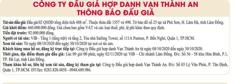Ngày 2/11/2020, đấu giá quyền sử dụng đất tại huyện Lâm Hà, tỉnh Lâm Đồng ảnh 1