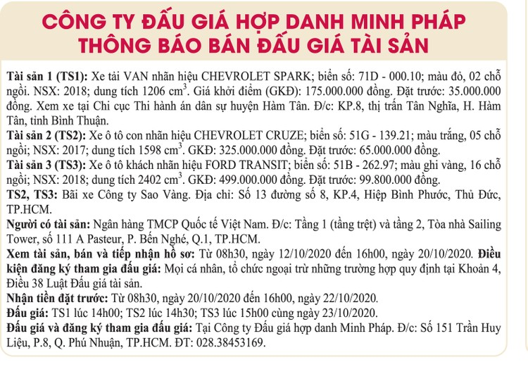 Ngày 23/10/2020, đấu giá 3 xe ô tô tại TPHCM ảnh 1
