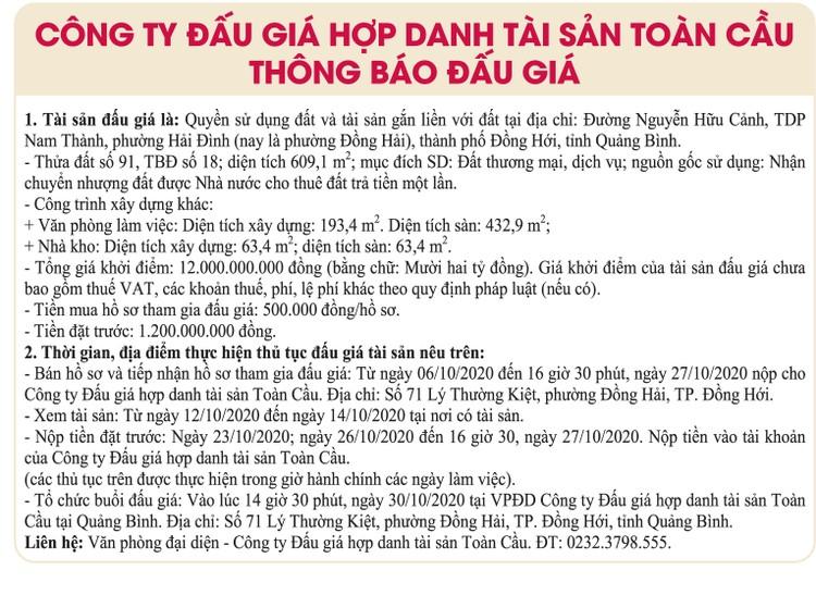 Ngày 30/10/2020, đấu giá quyền sử dụng đất tại thành phố Đồng Hới, tỉnh Quảng Bình ảnh 1