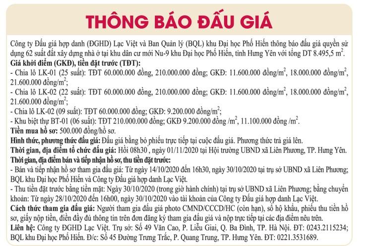 Ngày 1/11/2020, đấu giá quyền sử dụng đất tại thành phố Hưng Yên, tỉnh Hưng Yên ảnh 1