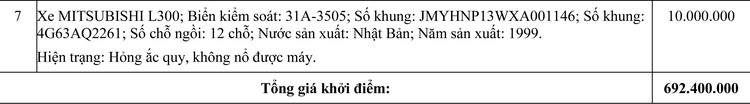 Ngày 30/10/2020, đấu giá 07 xe ô tô đã qua sử dụng tại Hà Nội ảnh 2