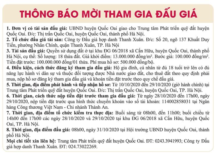Ngày 31/10/2020, đấu giá quyền sử dụng đất tại huyện Quốc Oai, Hà Nội ảnh 1