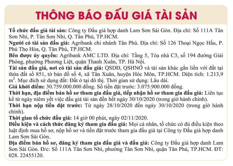 Ngày 2/11/2020, đấu giá quyền sử dụng đất tại huyện Hóc Môn, TPHCM ảnh 1