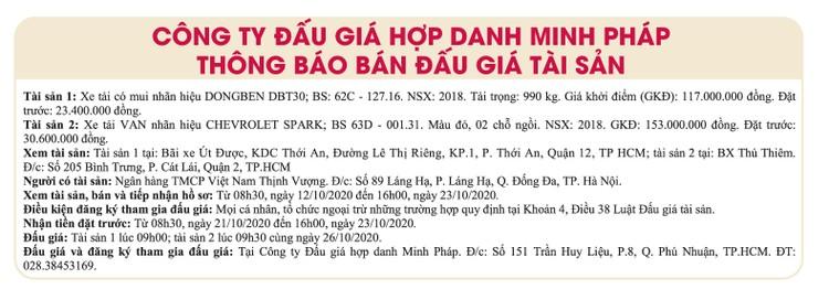 Ngày 26/10/2020, đấu giá 2 xe ô tô tại TPHCM ảnh 1