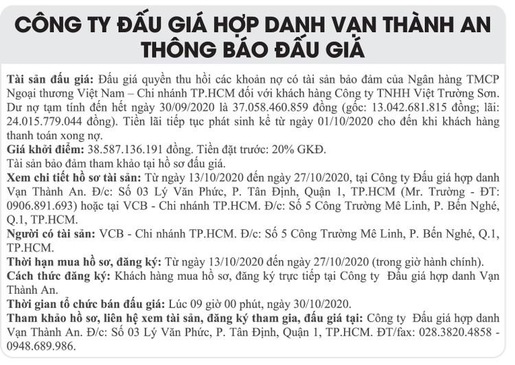 Ngày 30/10/2020, đấu giá quyền thu hồi khoản nợ của Công ty TNHH Việt Trường Sơn tại VCB Chi nhánh TPHCM ảnh 1