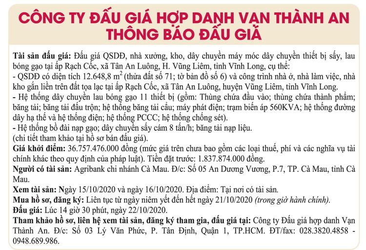 Ngày 22/10/2020, đấu giá quyền sử dụng đất, nhà xưởng, kho, dây chuyền máy móc tại huyện Vũng Liêm, tỉnh Vĩnh Long ảnh 1