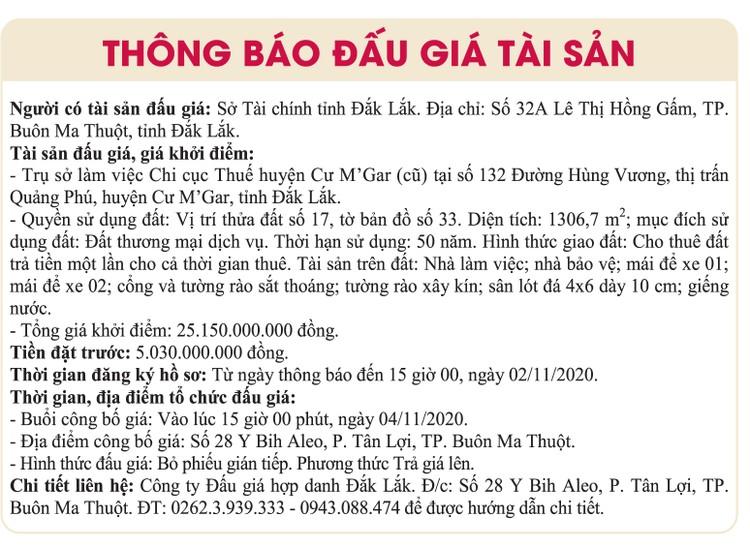 Ngày 4/11/2020, đấu giá quyền sử dụng đất tại huyện Cư M'Gar, tỉnh Đắk Lắk ảnh 1