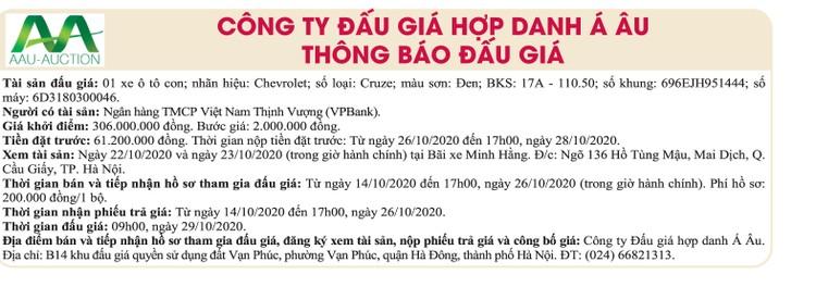 Ngày 29/10/2020,đấu giá xe ô tô Chevrolet tại Hà Nội ảnh 1