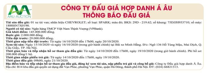 Ngày 29/10/2020, đấu giá xe ô tô Chevrolet tại Hà Nội ảnh 1