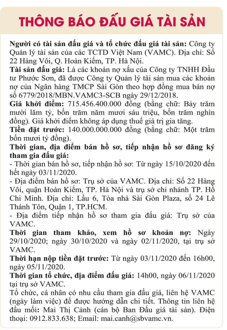 Ngày 6/11/2020, đấu giá các khoản nợ xấu của Công ty TNHH Đầu tư Phước Sơn tại Ngân hàng TMCP Sài Gòn ảnh 1