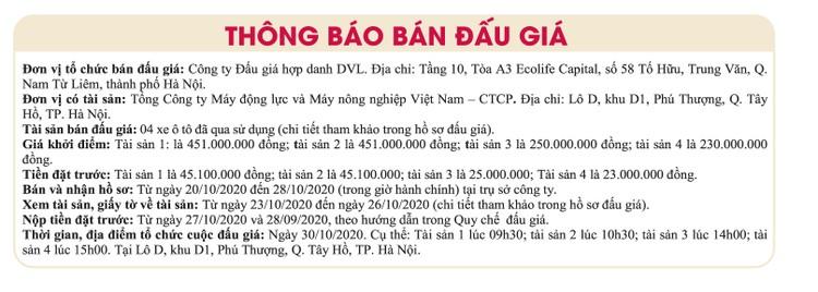 Ngày 30/10/2020, đấu giá 4 xe ô tô đã qua sử dụng tại Hà Nội ảnh 1