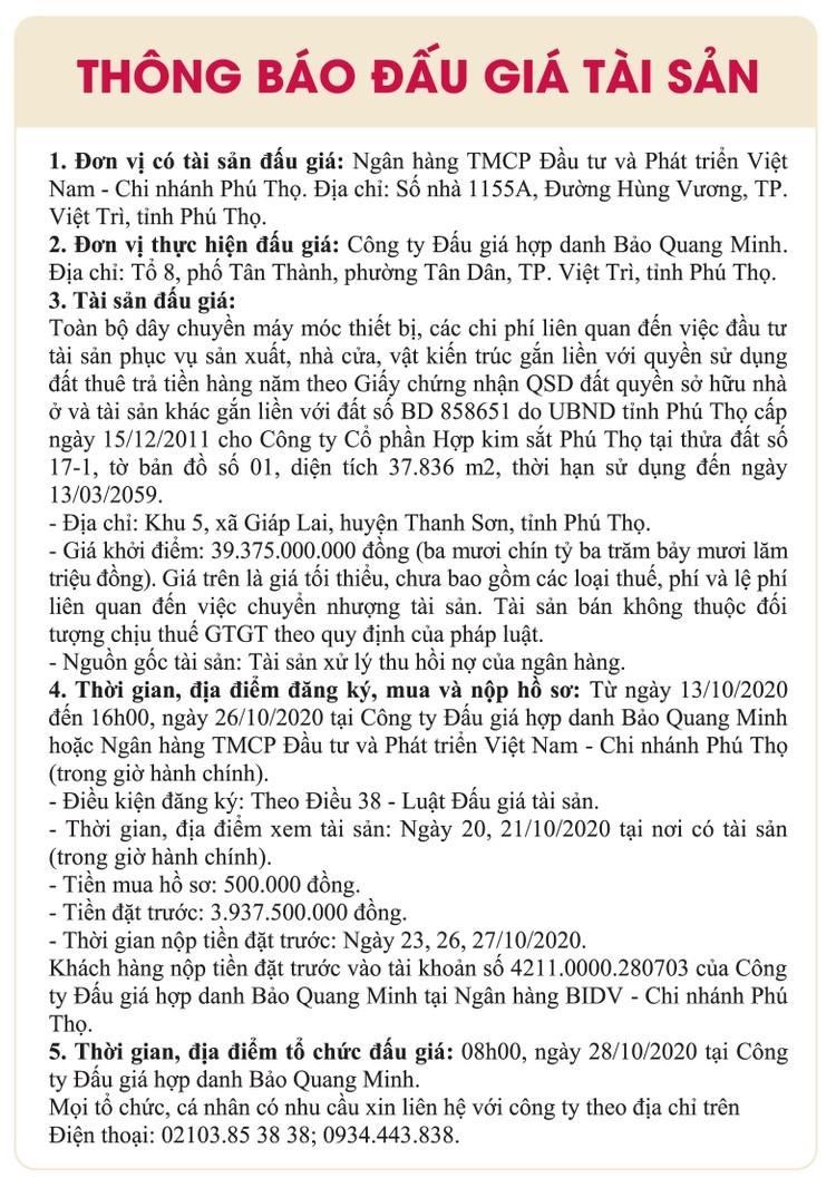 Ngày 22/10/2020, đấu giá toàn bộ dây chuyền máy móc, nhà cửa, vật kiến trúc gắn liền với quyền sử dụng đất tại huyện Thanh Sơn, tỉnh Phú Thọ ảnh 1