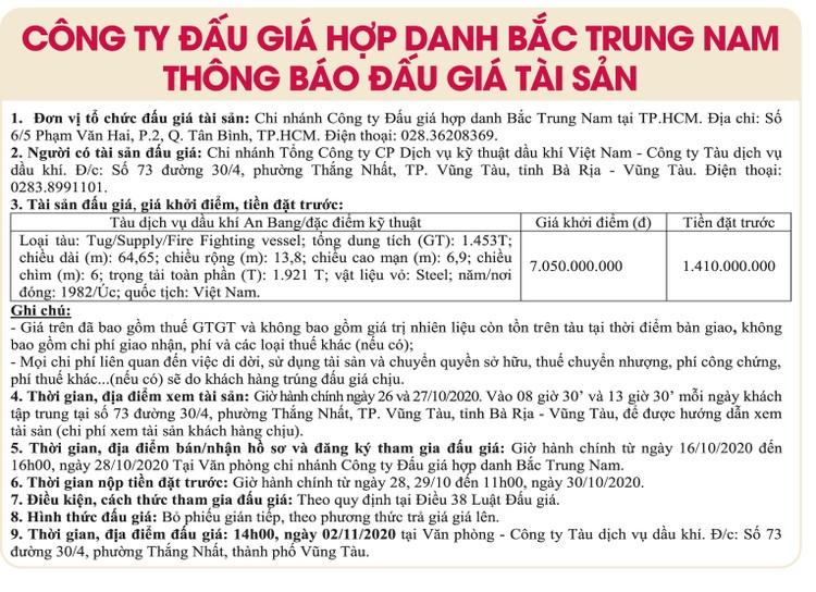 Ngày 2/11/2020, đấu giá tàu dịch vụ dầu khí An Bang tại tỉnh Bà Rịa – Vũng Tàu ảnh 1