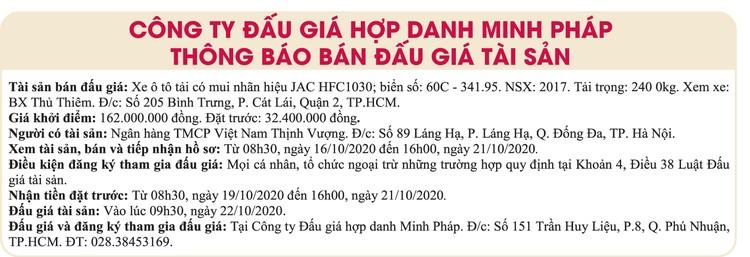 Ngày 22/10/2020, đấu giá xe ô tô tải JAC tại TPHCM ảnh 1