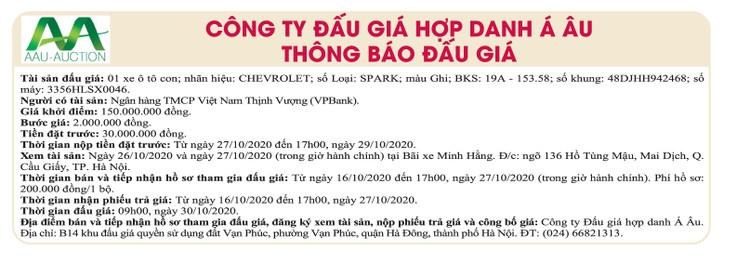 Ngày 30/10/2020, đấu giá xe ô tô Chevrolet tại Hà Nội ảnh 1