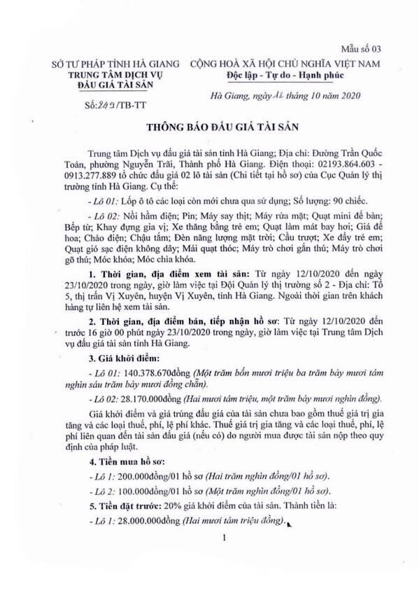 Ngày 28/10/2020, đấu giá hàng hóa tịch thu tại tỉnh Hà Giang ảnh 1