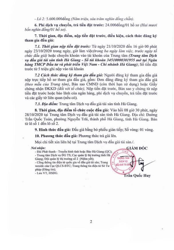 Ngày 28/10/2020, đấu giá hàng hóa tịch thu tại tỉnh Hà Giang ảnh 2