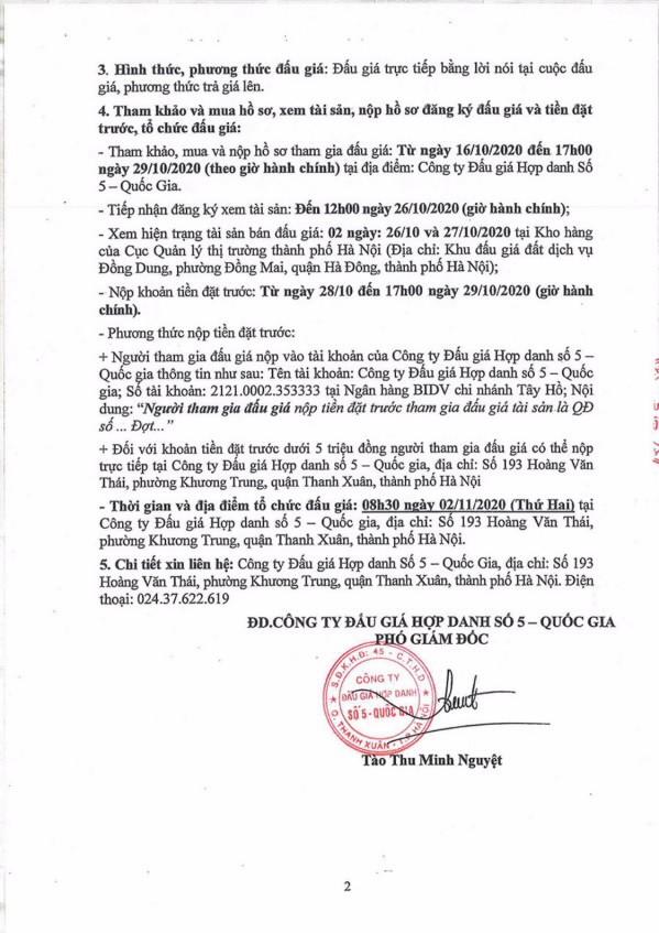Ngày 2/11/2020, đấu giá hàng hóa các loại tịch thu tại Hà Nội ảnh 2