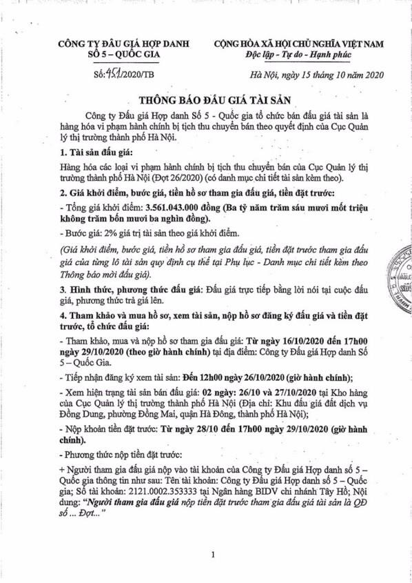 Ngày 2/11/2020, đấu giá hàng hóa các loại tịch thu tại Hà Nội ảnh 1