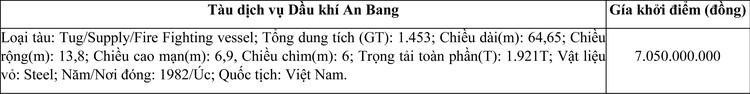Ngày 2/11/2020, đấu giá tàu dịch vụ Dầu khí An Bang tại tỉnh Bà Rịa - Vũng Tàu ảnh 1