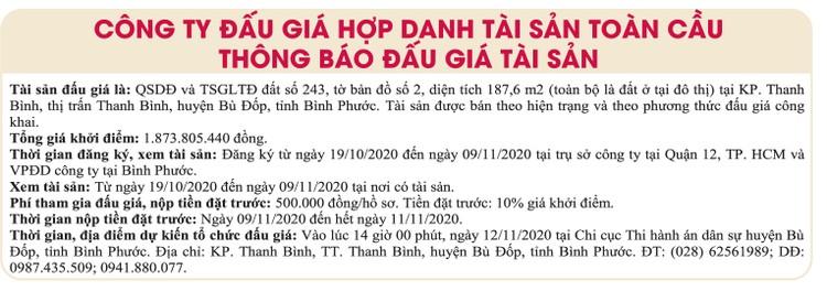 Ngày 12/11/2020, đấu giá quyền sử dụng đất tại huyện Bù Đốp, tỉnh Bình Phước ảnh 1
