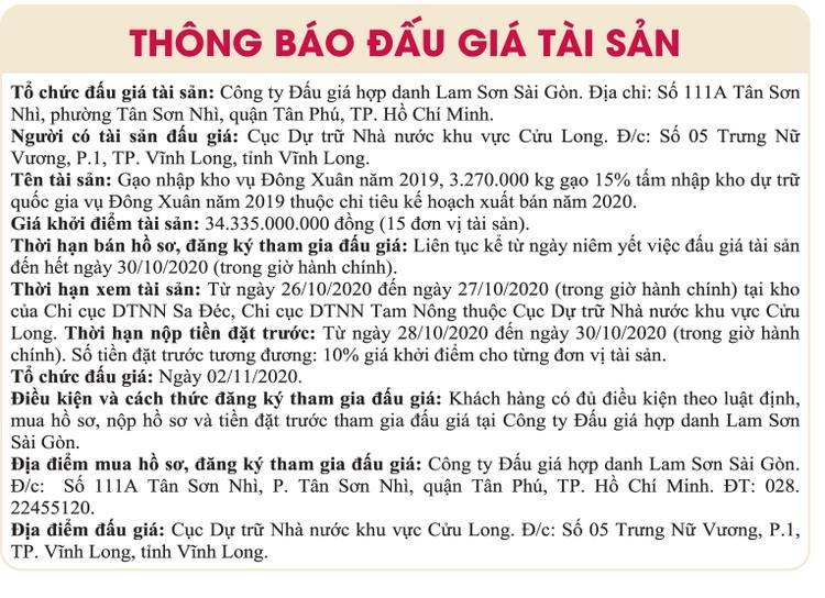 Ngày 2/11/2020, đấu giá gạo nhập kho Vụ Đông Xuân năm 2019 tại tỉnh Vĩnh Long ảnh 1