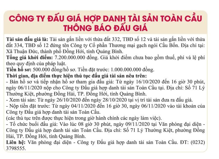 Ngày 9/11/2020, đấu giá tài sản gắn liền với đất tại tỉnh Quảng Bình ảnh 1