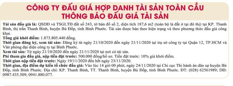 Ngày 24/11/2020, đấu giá quyền sử dụng đất tại huyện Bù Đốp, tỉnh Bình Phước ảnh 1