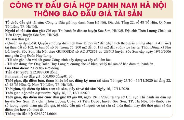 Ngày 19/11/2020, đấu giá quyền sử dụng đất tại huyện Sóc Sơn, Hà Nội ảnh 1