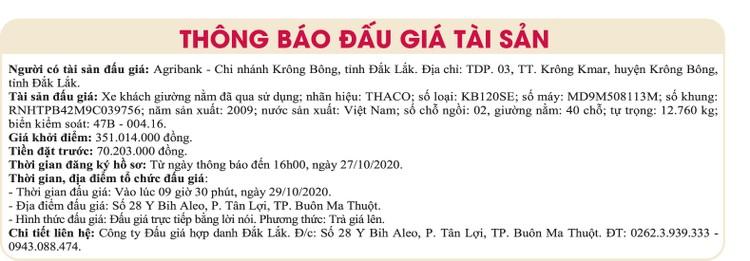 Ngày 29/10/2020, đấu giá xe ô tô Thaco tại tỉnh Đắk Lắk ảnh 1