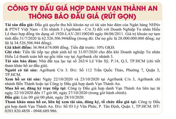 Ngày 28/10/2020, đấu giá quyền thu hồi khoản nợ của Agribank Chi nhánh 3 đối với Doanh nghiệp tư nhân Hiếu Lê ảnh 1