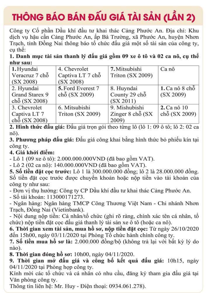 Ngày 4/11/2020, đấu giá 9 xe ô tô và 2 cano tại tỉnh Đồng Nai ảnh 1