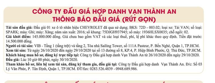 Ngày 30/10/2020, đấu giá xe ô tô Chevrolet tại TPHCM ảnh 1