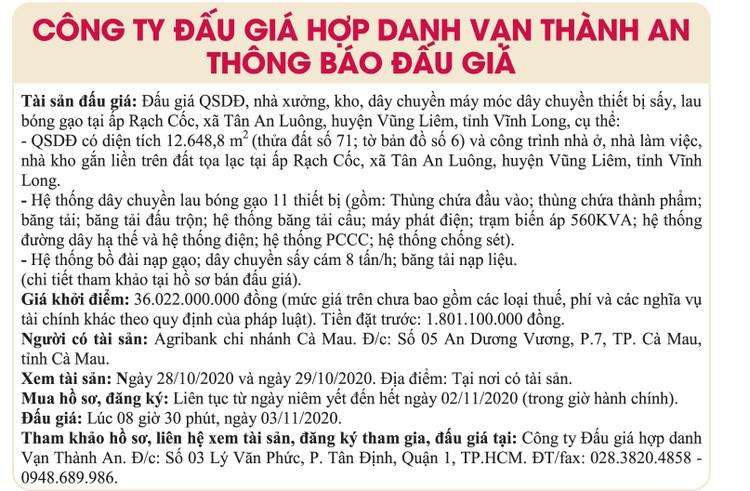Ngày 3/11/2020, đấu giá quyền sử dụng đất, nhà xưởng và máy móc thiết bị tại huyện Vũng Liêm, tỉnh Vĩnh Long ảnh 1