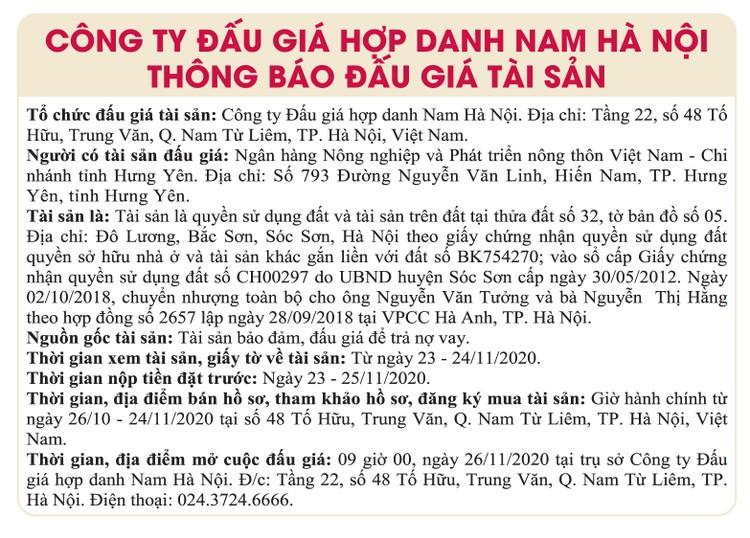 Ngày 26/11/2020, đấu giá quyền sử dụng đất tại huyện Sóc Sơn, Hà Nội ảnh 1
