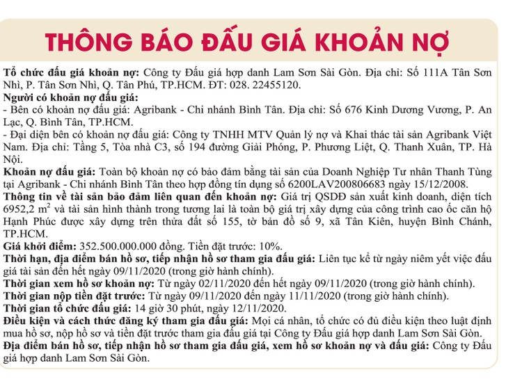 Ngày 12/11/2020, đấu giá khoản nợ của DNTN Thanh Tùng tại Agribank Chi nhánh Bình Tân ảnh 1
