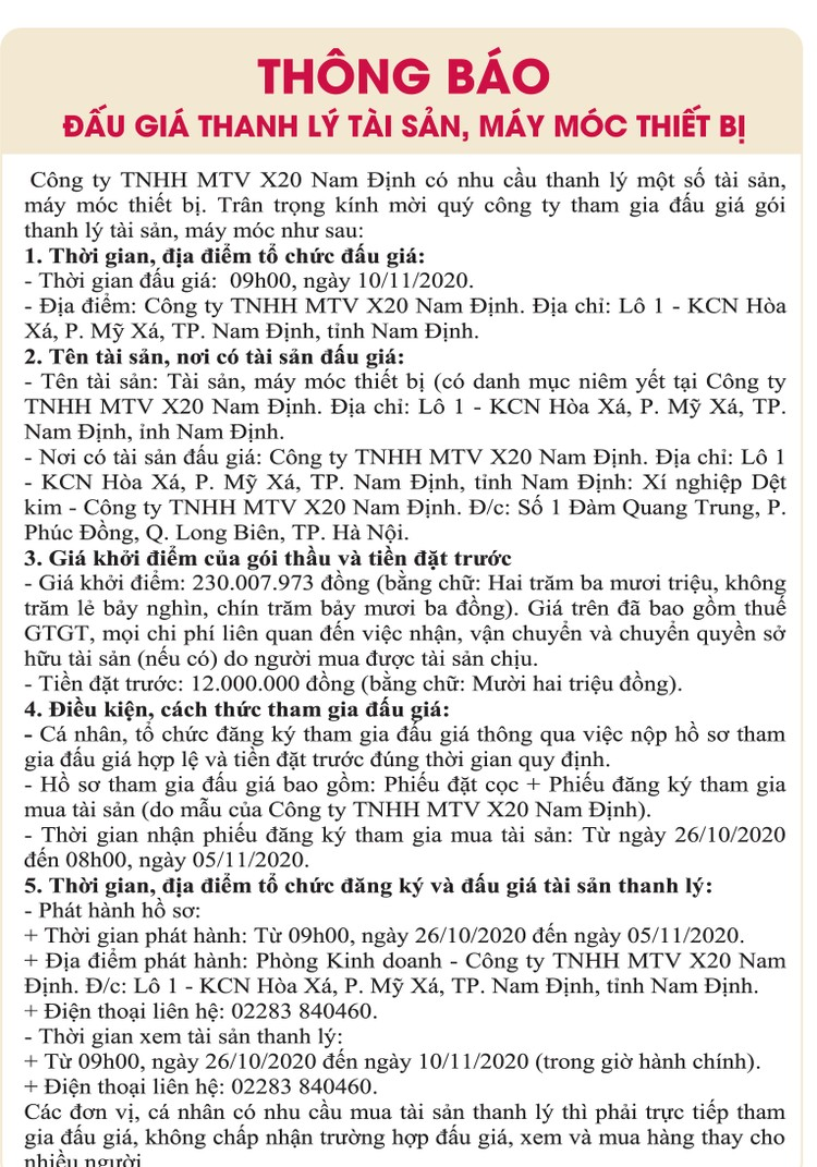 Ngày 10/11/2020, đấu giá tài sản, máy móc thiết bị tại tỉnh Nam Định ảnh 1