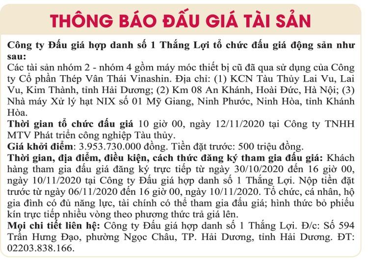 Ngày 12/11/2020, đấu giá máy móc thiết bị tại tỉnh Hải Dương ảnh 1